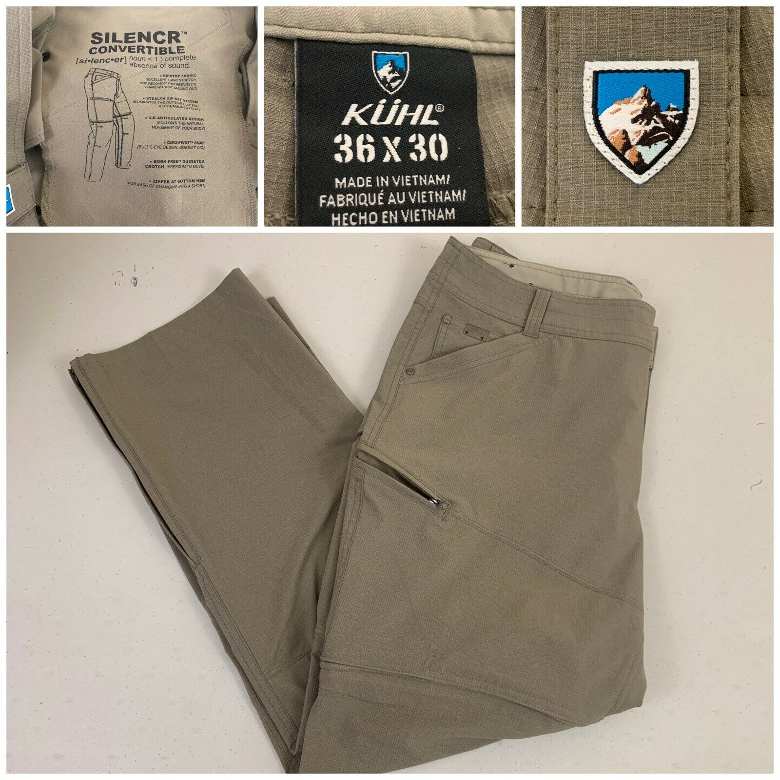 Kuhl Men Silencr Hiking Pants 36x30 Grey   -Brownish - Excellent Condition  beautiful