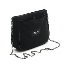 NIP USA Chanel Parfums Black Beaute Cosmetic Makeup VIP Gift Soft W/Chain Bag