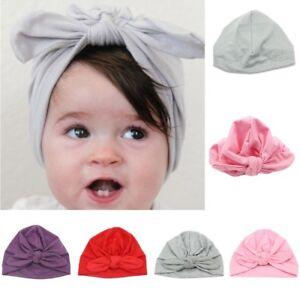 Newborn Baby Girls Turban Bow Knot Head Wrap Hat Cotton Cap Headband ... 6bf961c93aa