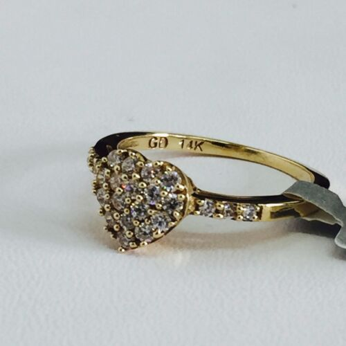 14K Solid Yellow Gold Ladies Round Cut Cubic Zirconia Cluster Heart Ring Size 7