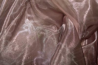 DUSKY PINK AND BLACK TWO TONE ORGANZA VOILE WEDDING/ BRIDAL DRESS CRAFT FABRIC .