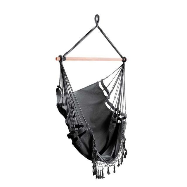 Hammock Chair Hanging Swing Outdoor Camping Grey Indoor Garden Holds Upto 120kg For Sale Online Ebay