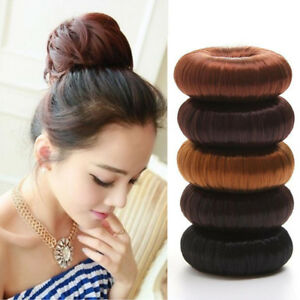 Women-Synthetic-Fiber-Hair-Bun-Donuts-Ring-Blonde-Thick-Hair-Extension-Wig