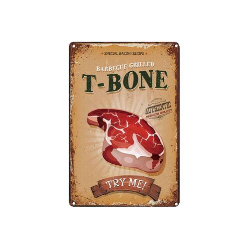 Sinal De Metal Em Estanho Churrasco grelhado T-Bone Decoração Para Casa bar pub pôster Vintage Retro