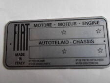 Typenschild FIAT blanco Schild id plate targhetta placca 500 600 1100 850 s28