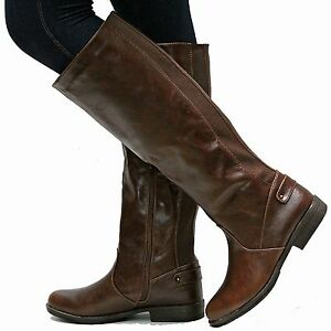 New Women Bm77 Brown Western Knee High Riding Boots Low Heel 5 5 To
