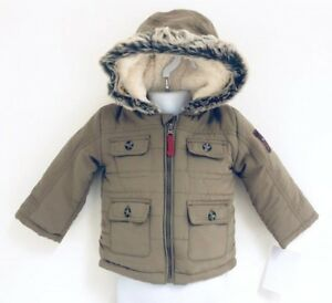 Ex-Chain-store-Boys-Quilted-Winter-Coat-Fur-Trim-Hood-Baby-Toddler-0-3-up-to-24M