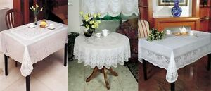 Vinyl-White-Embossed-Lace-Tablecloth-Table-Cover-Various-Sizes-and-Designs