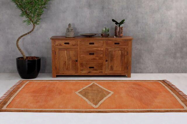 Indian Printed Cotton Panja Area Rugs Floor Decor Carpet Vintage