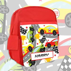 Childrens School Bag Boys Kids Backpack Personalised Transport Cars