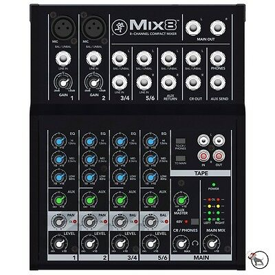 Mackie Mix8 8-Channel 3-band EQ Portable Live Studio Compact Mixer Mix 8 Eight