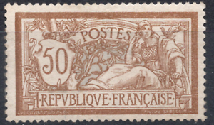 TIMBRE-FRANCE-Annee-1900-Type-MERSON-50-c-brun-et-gris-n-120-NEUF