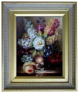 Framed-Still-Life-with-Assorted-Flowers-Quality-Oil-Painting-8x10in