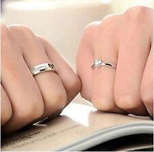 2 x Sterling Silver Plated Love Heart Adjustable Rings UK SELLER