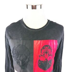 William-Rast-Garment-Dyed-Skulls-Graphic-Long-Sleeve-Crewneck-T-Shirt-Men-Large