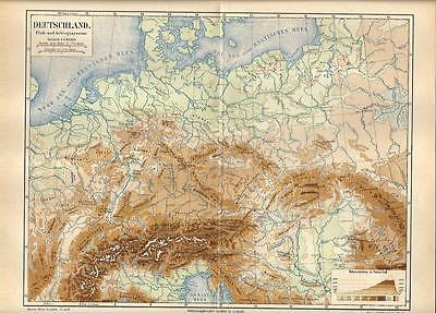 Cartina Germania Fiumi.Carta Geografica Antica Germania Deutschland Fiumi E Monti 1890 Old Antique Map Ebay