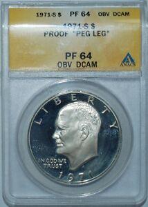 1971-S-ANACS-PR64DCAM-Obverse-Peg-Leg-Variety-1-Ike-Dollar