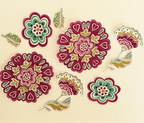 Beautiful Flower medallions In Wine and teal Iron On Fabric Appliques