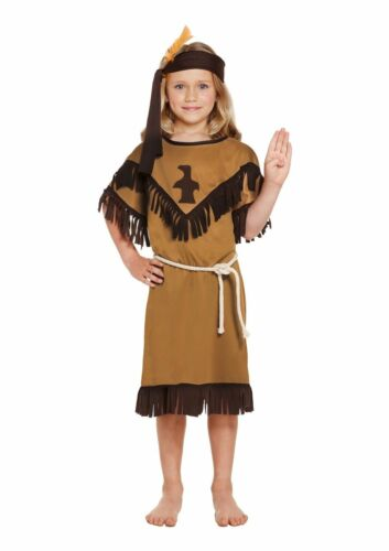 GIRLS NATIVE INDIAN FANCY DRESS COSTUME AMERICAN SQUAW GIRL OUTFIT KIDS CHILDS