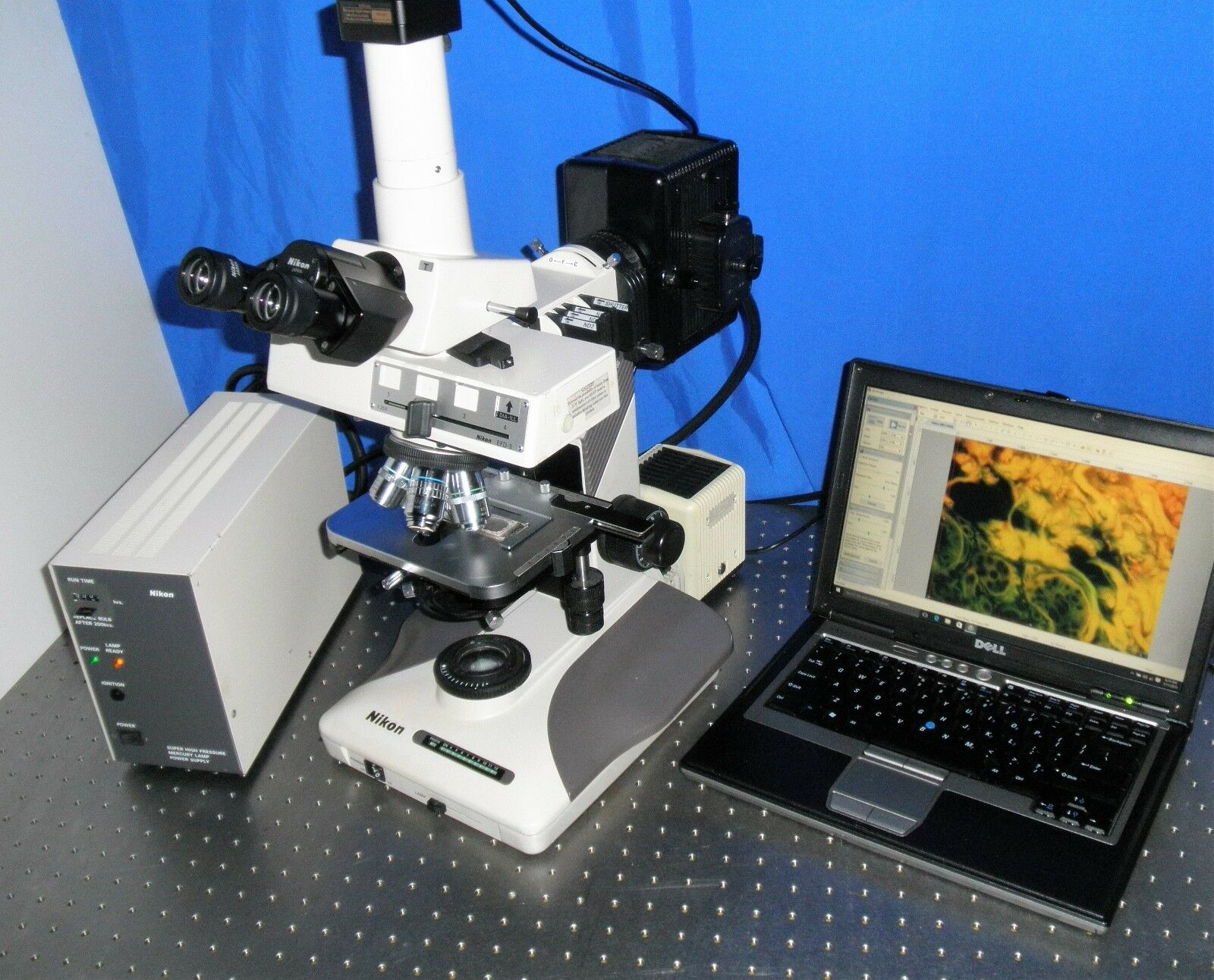 Nikon optiphot 2 trinokulares fluoreszenz mikroskop 3 objektive