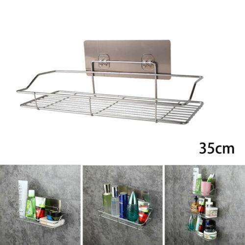Stainless Steel Kitchen Bathroom Shower Shelf Storage Suction Basket Rack E
