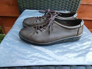 LADIES-SOFT-BROWN-LEATHER-LACE-UP-SHOES-BY-ECCO-SIZE-6