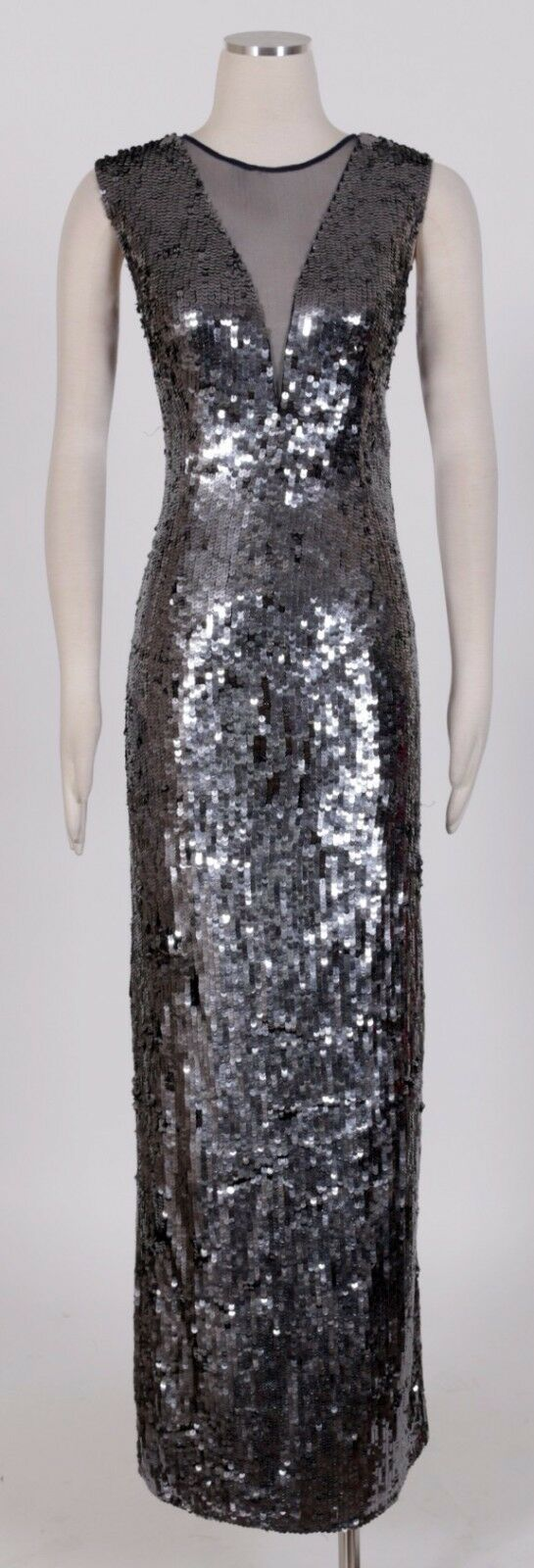 JS COLLECTIONS Grey Sz 10 Women's Formal Sequin Sheath Dress New