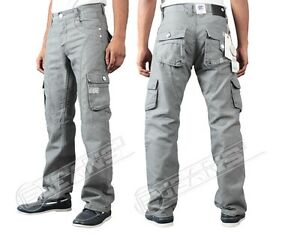 767cb70119ec MENS JEANS BNWT ENZO EZ 169 GREY COATED COMBAT CARGO TROUSERS JEANS ...