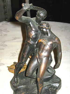 ANTIQUE KBW ROMAN GLADIATOR SWORD BRONZE CLAD NUDE MAN ART STATUE SCULPTURE LAMP