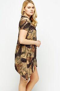 Olive-Brown-Beige-New-Paisley-Print-Cold-Shoulder-Multi-Long-Plus-Size-Top-Dress