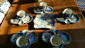 CROWN-DUCAL-RARE-BLUE-CHINTZ-TEA-amp-TOAST-SET-OF-5-W-CAKE-PLATE