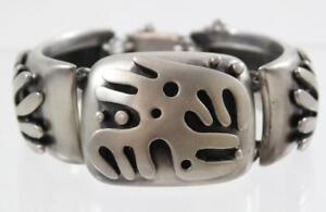 Salvador-Teran-Sterling-Silver-3D-Bracelet-925-Tribal-Design-162-Taxco-Mexico