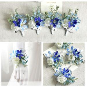 White Rose Blue Orchid Wrist Corsage Bracelet Groom Boutonniere