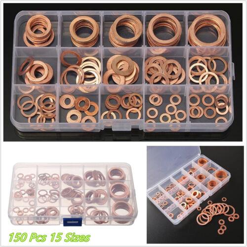 150 x arandelas de cobre de alta calidad auto motores Anillo de Sello Junta hidráulica de montaje