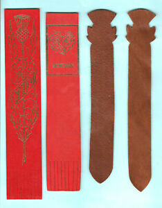 Vintage-Scottish-Thistle-Flower-Leather-Bookmark-Suede-Scotland-Red-Gift-Him