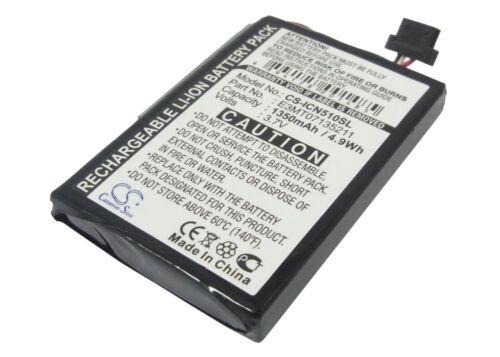3.7V Battery for Navman iCN 510 iCN 520 iCN 530 E3MT07135211 1350mAh NEW