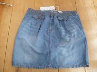 Stefanel Flax Linen Blend Denim Chambray Gonna Mini Skirt Stonewashed Blue Uk 10