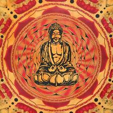 Lotus Buddha - Indische Deko Baumwoll Tagesdecke  XXL 230 x 210 cm - orange