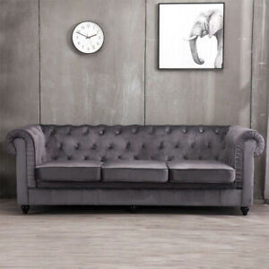 Fine Details About Modern Chesterfield Sofa Settee 3 Seater Grey Velvet Fabric Upholstered Couch Uk Unemploymentrelief Wooden Chair Designs For Living Room Unemploymentrelieforg