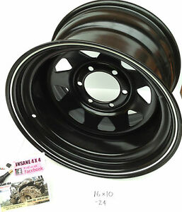 NEW-LANDCRUISER-16-x-10-pcd-5-150-Steel-Rim-24-offset-REAL-FAT-can-POST