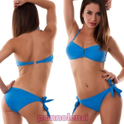 Bikini donna costume da bagno mare fascia gioiello due pezzi bandeau nuovo B620