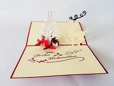 Pop Up Karte Tannenbaum.Reh Tannenbaum 3d Klappkarte Glückwunschkarte Pop Up Karte Ebay