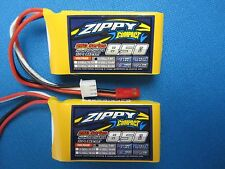 2 ZIPPY COMPACT 850mAh 2S 7.4V 25C 35C LIPO BATTERY JST MINI MICRO WLTOYS ORX TX