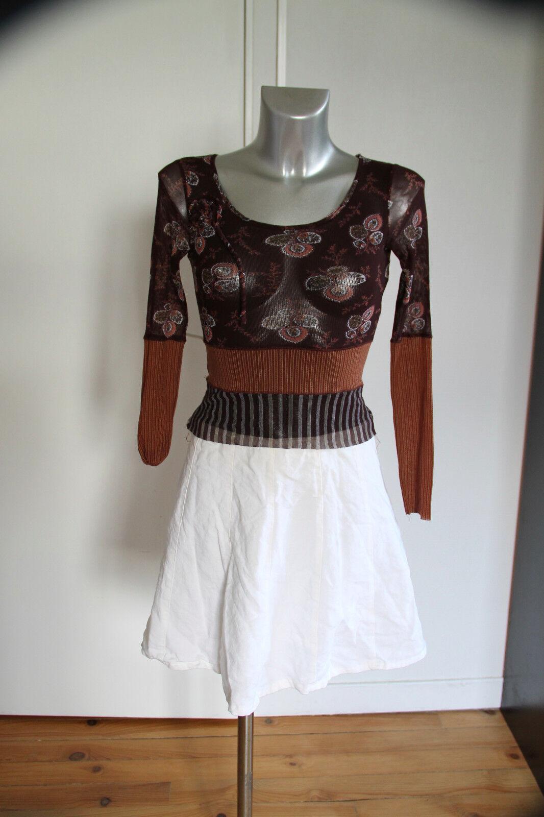 Exceptionnelle robe superposée bi matière ONE STEP size S   EXCELLENT ÉTAT