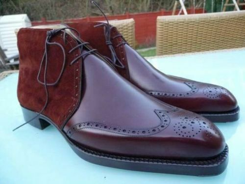 Mens Maroon color Suede Mixed Brogue Handmade Leather shoes Formal Leather Sole