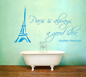 Paris Is Always A Good Idea Wall Art Audrey Hepburn Quote Eiffel