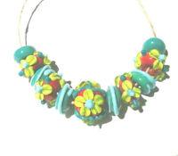 Lgl Handmade Lampwork Beads - Impression Flower- Nb2011- Sra - Jewelry And Craft