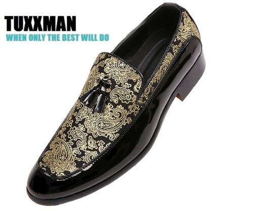 Loafers Shoes Tuxxman New On Prom Mens Black Slip Paisley Gold Tuxedo Nappe wzAqgTF