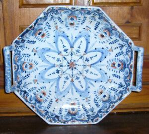 100% Vrai Plat Céramique Hoctogonal Décoratif Peint à La Main Finement Traité