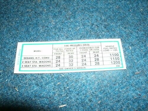 1967 PLYMOUTH BELVEDERE SATELLITE GTX TIRE PRESSURE SPECIFICATIONS DECAL